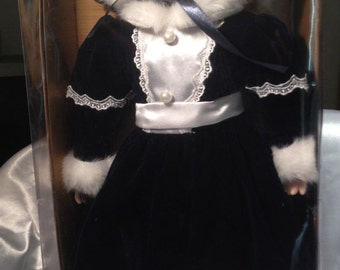 """NEW Holiday Elegance-Genuine Porcelain Girl Doll-w/Stand 22"""""""