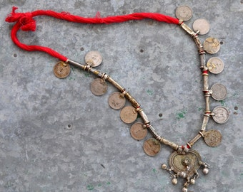 Gypsy heart tribal necklace boho Banjara style with bells, coins and red cord Rajasthan Kuchi