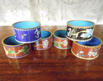 Vintage Cloisonné Enamel on Brass Napkin Rings Set of 6 Lovely Asian Oriental Floral Designs 2 1/8 Diameter Table Place Setting Decoration