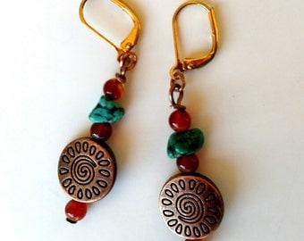 Southwest Earrings, Copper Turquoise Earrings, Carnelian and Turquoise Earrings, Copper Earrings, Tribal Earrings