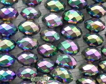 Metallic Green Chinese Crystal Rondelle - Fire Polished Chinese Crystal Glass Beads - 8x5mm - 36 beads - 1835