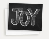 Joy To The World Card - Hand Lettered Christmas Card - Religious Christmas Card - Christmas Chalkboard - Chalk Art - Typography
