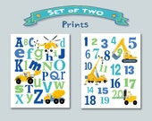 Kid Construction Alphabet And Numbers Art Prints Whimsical 'Set Of Two' Prints Construction Vehicles Letters Numbers Boy Wall Art Blue Green