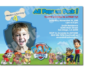 Paw Patrol Invitation - Printable Paw Patrol birthday Invitation