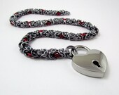 Slave Collar in Dark Silver and Red with Heart Padlock - Byzantine Weave Chainmaille Day Collar Fetish Bondage BDSM – Handmade Choker