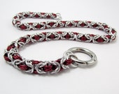 Slave Collar in Red and Silver with Ring Clasp  Byzantine Weave Chainmaille Day Collar BDSM Bondage Fetish Gorean Submissive Choker Handmade