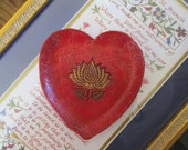 Ceramic Red Heart Dish with Gold Lotus, Terracotta and Gilders Paste, Jewelry, Trinkets, Offering Dish, Valentine Gift, hiddenfirepottery