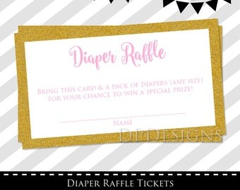 Diaper Raffle Tickets, Pink and Gold Baby Shower, Instant Download