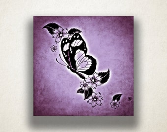 Butterfly Floral Canvas Art Print, Insect Wall Art, Butterfly Canvas Print, Artistic Wall Art, Canvas Art, Canvas Print, Home Art, Wall Art