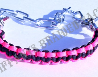 Goat show collar reversible hot pink and black