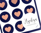 """Envelope Seals - 1"""" Heart Stickers - Rose Gold Navy - Navy Label - Party Favors - Gift - Gift Wrapping - Birthdays - Wedding - Seals"""