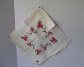 Hankerchief w Red Applique Flower Union Linen Cotton Sticker Original Fold