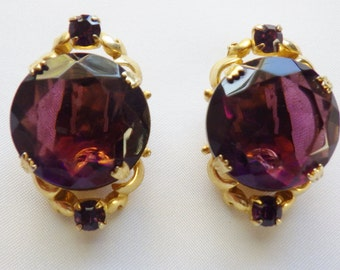 Vintage Large Purple Rhinestone Earrings Clip On