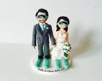 Personalised Bride & Groom Skiing Skating with ski board  skateboard wedding cake topper - Customised skiing couple cake topper