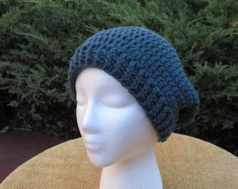 Crocheted Blue Slouchy Hat / Beret / Tam / Hat / Cap
