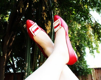 Vintage - Red & White Bow Flats Shoes (Size 9S US)