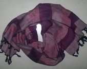 Long Scarf Cotton Scarf Indian Scarf Purple Striped Scarf Unisex Scarf