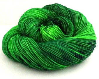 "Hand dyed ""It's Not Easy Being Green"" superwash merino sock yarn"