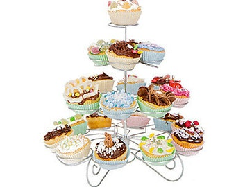 23 Count 4 Tier Cupcake Stand for Wedding / Birthday Party, Cupcake Tower,Stainless Steel M2925443