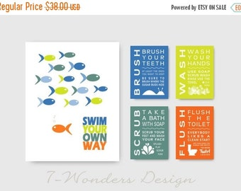 ON SALE Swim Your Own Way  Kids Bathroom Art Prints Set  - (1) 11 x 14 and (4) 5 x 7 Art Prints // Childrens Kids Bathroom