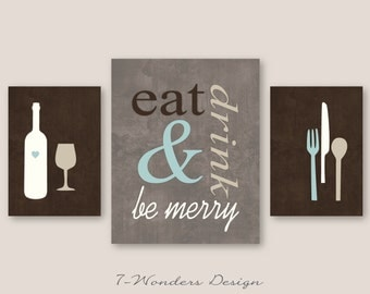 Eat Drink and Be Merry Modern Kitchen Art Print Set of (3), 2 Size Options - Brown Dust Mute Blue Tan Cream // Kitchen Wall Art - Unframed