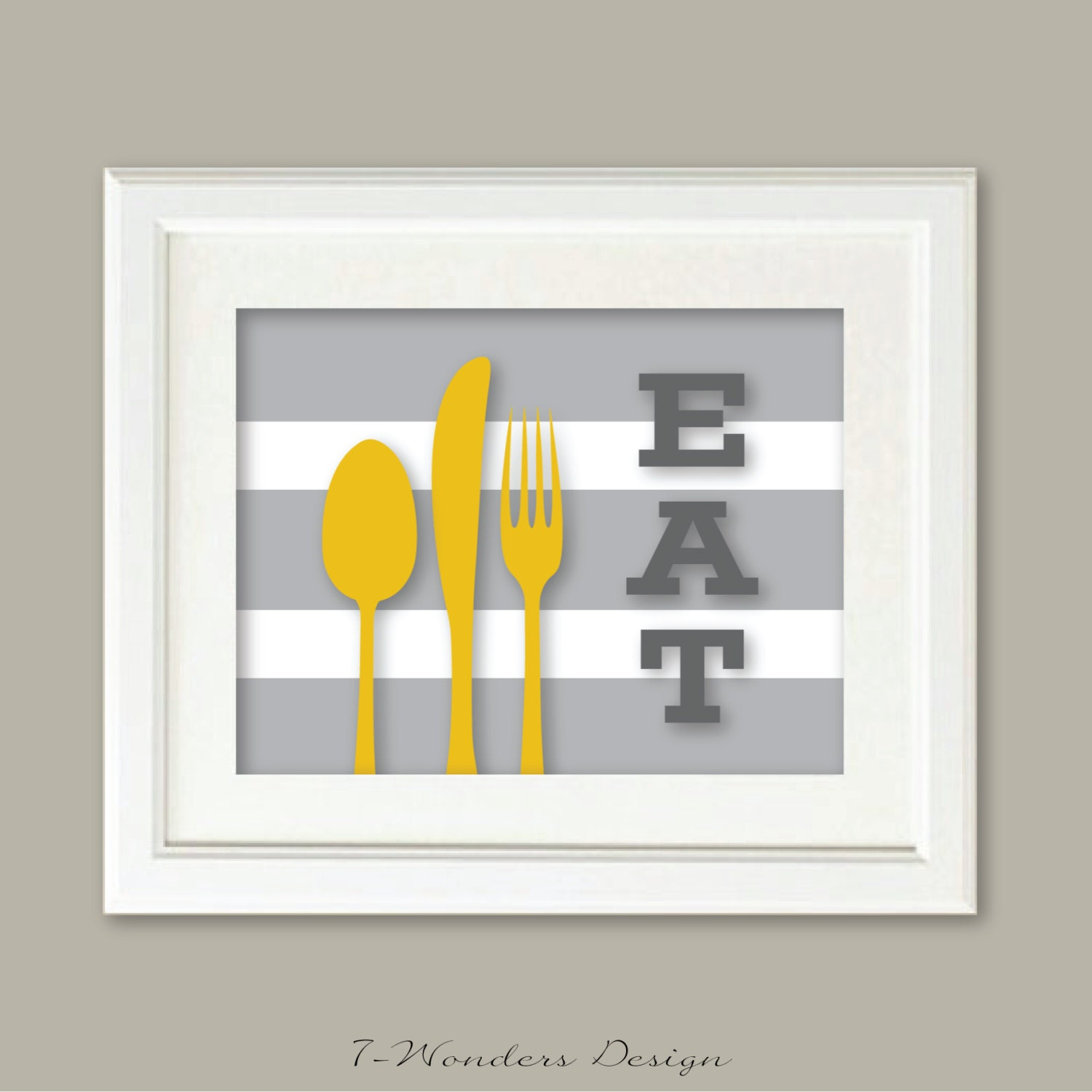 Modern kitchen art prints eat frying pan and utensils 2 for Modern kitchen utensil