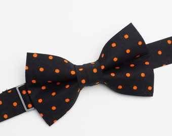 Bow Tie - Black with Orange Polka Dots Bowtie