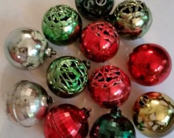 Vintage Plastic Bulbs 1950's Molded Plastic Christmas Tree Decorations 50's Xmas Ornaments 50's Xmas Decor