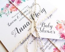 Baby Shower Invitation Christening Mitzvah - Watercolour Florals