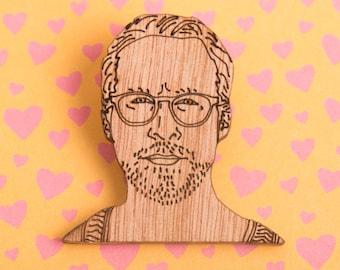 Ryan Gosling Wooden Brooch / Pin / Badge - Hey Girl - Frilly Film Club