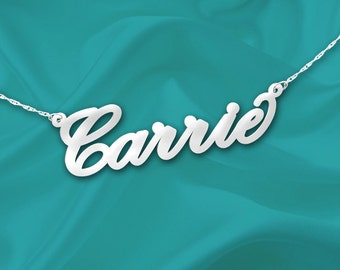 Name Necklace Carrie 925 Sterling Silver Handcrafted Personalized Name Necklace - Made in USA