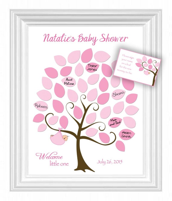 diy baby shower guest 11x14 sign in tree printable file baby shower
