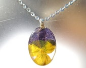 Viola Real Pressed Flower Pansy Pendant Violet Oval Glass Necklace