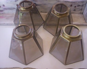 Four ceiling light shade/Vintage Beveled Leaded Glass and Brass Salvage light shade/Light making/Replacement shade/Shade/Sconce glass shade