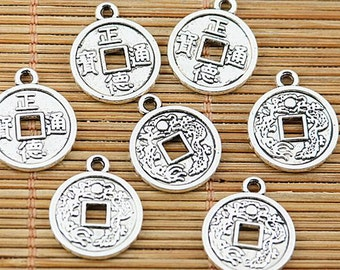 36pcs tibetan silver plated ancient Chinese coin charm pendants EF1962