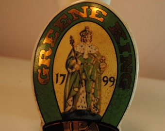 Beer Badge Green King IPA Bitters marked 1799 porcelain ceramic beer sign badge vintage antique green gold  English