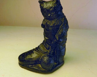 Welsh COAL PUss and Boots fairytale sweet little hand carved coal CAT  stocking stuffer welsh estate sale Made in Wales