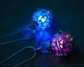 New!!! Silver Steampunk Glow in the Dark Ornate Globe Pendant Locket In Your Choice Of Colour LED or Glow Orb
