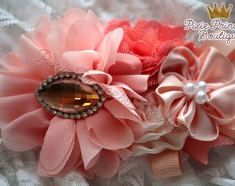 Peachy Keen - Headband, Baby Headband, Photography Prop, Couture Headband, Hair Clip, Coral and Peach, Chiffon Headband, Summer Headband