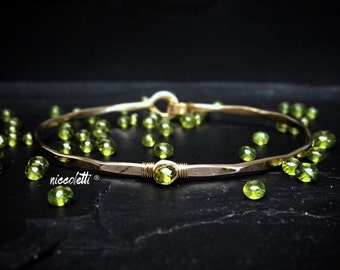 Genuine Vesuvianite Bangle / 14k Gold Filled Vesuvianite Bracelet / Olive Green Gemstone Bracelet / Gift for Her / Solitaire Bangle
