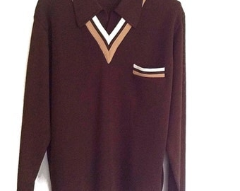 Vintage 70s Pullover Large Oleg Cassini Italy Sweater Brown Polyester Fashion Top Sweater Stylish 70s Oleg Cassini Burma Brown Tan V Neck