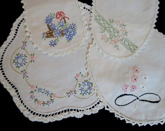 Four Hand Embroidered Vintage Doilies