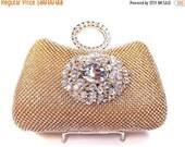 SALE 30% OFF Gold Rhinestone Crystal Bridal Clutch, Wedding Purse, Evening Clutch
