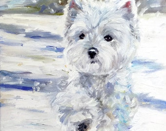 PRINT Westie West Highland Terrier Dogs Puppy Snow Art Oil Painting / Mary Sparrow of Hanging the Moon Studio