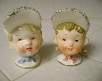 Napco Salt Pepper, Boy and Girl in baseball cap, hat, collectible,