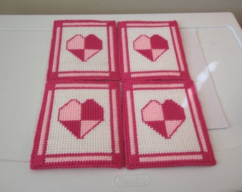 HOT PINK LIGHT Pink Heart Coasters in Plastic Needlepoint Set of 4