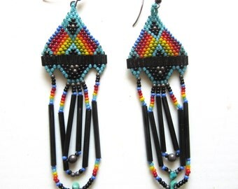 Native Southweatern Glass Bead Chandelier Earrings Multicolor Handmade