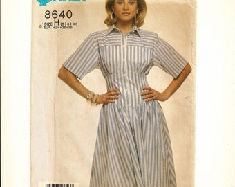"""A Fitted Wide Midriff, Front Button, Full Skirt Dress Pattern for Women: Uncut - Sizes 6-8-10, Bust 30-1/2"""" to 32-1/2"""" • Simplicity 8640"""
