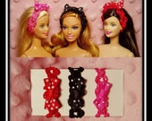 Barbi Doll Hair Bands - (3) Headbands = (1) Hot Pink - Black, (1) Hot Pink - Lime Green, & (1) Purple - Lime Green