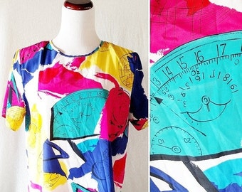 CLOTHING SALE Vintage World Map Bobbie Brooks 80s Blouse Shirt. Medium / Large